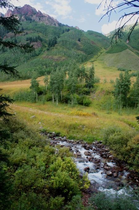 Maroon Creek and open meadow along Maroon Creek Trail