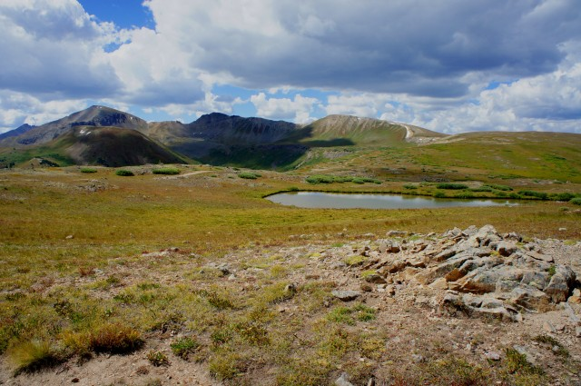View south from Independence Pass, toward Mountain Boy Park, Point 13,198', and Ouray Peak (12,957')