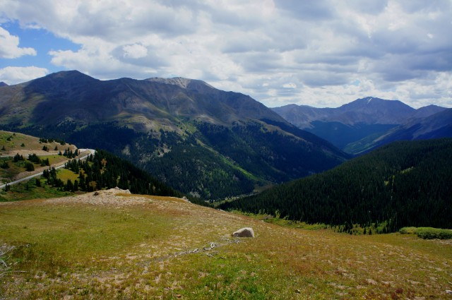 View southeast from Independence Pass, toward Lackawanna Peak (13,590') and La Plata Peak (14,361')