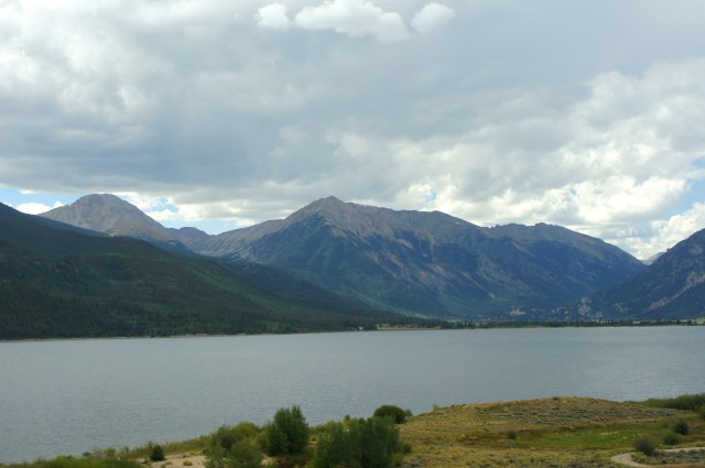 Twin Lakes and Twin Peaks (13,333') from near the east end of the scenic byway
