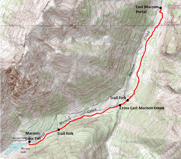 Map of Maroon Creek Trail, White River National Forest; adapted from http://www.mytopo.com/maps/