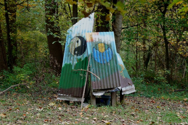 Hippy corrugated iron (?) at the Circle of Life Gardens, Potomac Overlook Regional Park