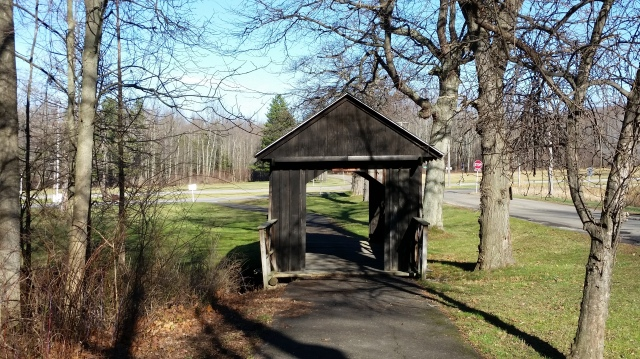 Small covered bridge at Evangola State Park