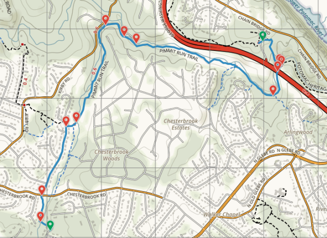 Map of Pimmit Run Trail - Section 1: Fort Marcy to Solitaire Ln., McLean, Virginia; adapted from National Geographic Maps/AllTrails, alltrails.com