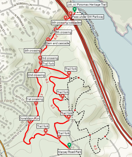 Donaldson Run Trail Map Potomac Overlook Regional Park Virginia