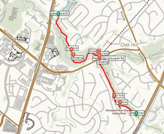 Horsepen Run Trail map Floris Virginia hike Horsepen Run Stream Valley Park