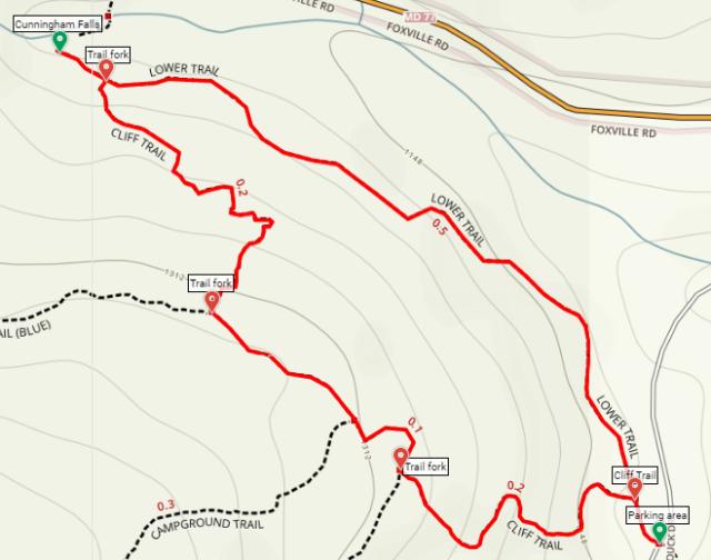 Cunningham Falls Cliff Trail Falls Trail Loop hike map