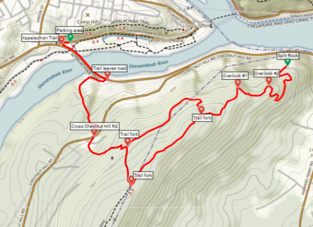 Loudoun Heights Trail Harpers Ferry map hike
