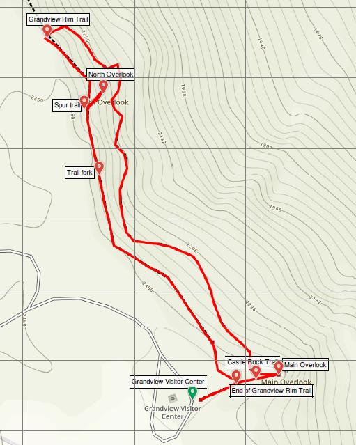 Castle Rock Trail Grandview Rim Trail loop hike New River Gorge Grandview Map
