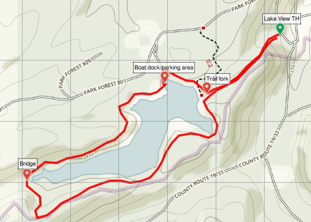 Lake View Trail loop hike map Babcock State Park Boley Lake