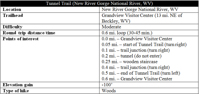Tunnel Trail Grandview New River Gorge hike information