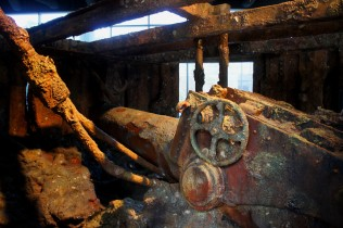Inside the actual turret of the USS Monitor, discovered at the bottom of the Atlantic Ocean