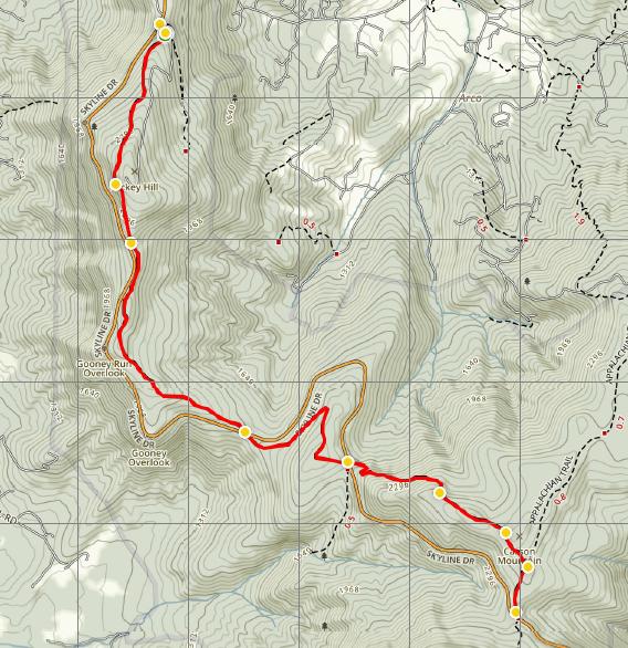 Dickey Ridge Trail Shenandoah map