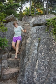 On the steep trail down Acadia Mountain
