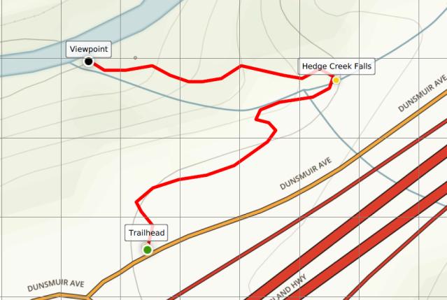 Hedge Creek Falls Trail map