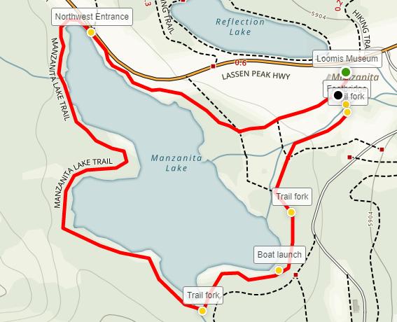 Manzanita Lake Trail map Lassen