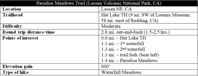 Paradise Meadows Trail hike information Lassen