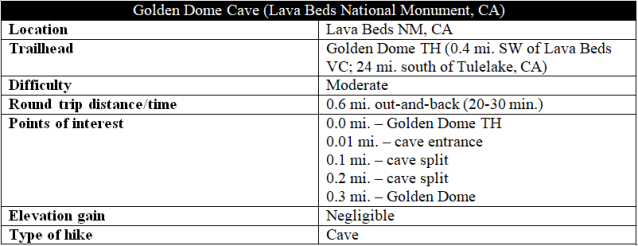 Golden Dome Cave Lava Beds hike information