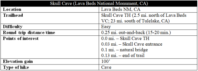 Skull Cave Lava Beds hike information