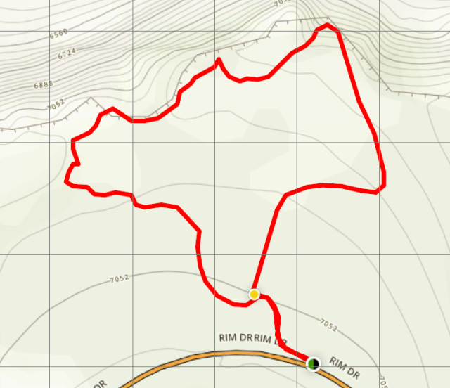 Sun Notch Trail Crater Lake hike map