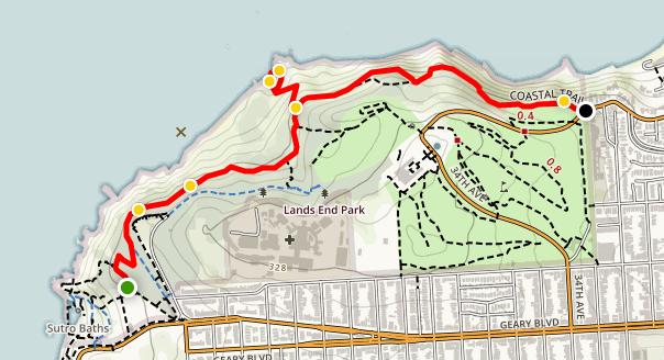 Coastal Trail Lands End GGNRA map