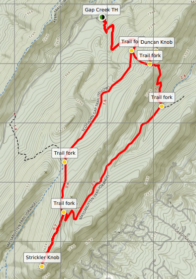 Duncan Knob Strickler Knob trail map