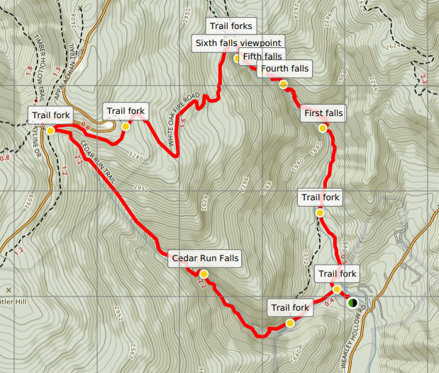 Whiteoak Canyon Cedar Run Trail loop map