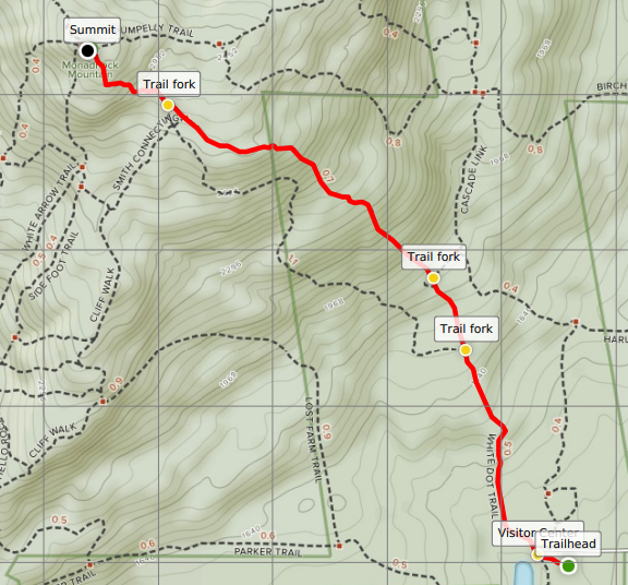 Mount Monadnock White Dot Trail map