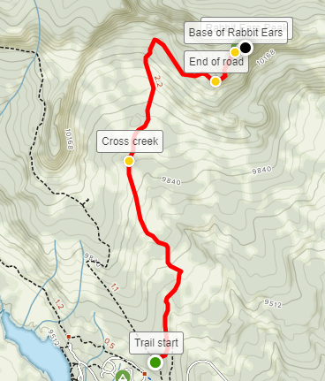 Rabbit Ears Peak Trail hike map PDF