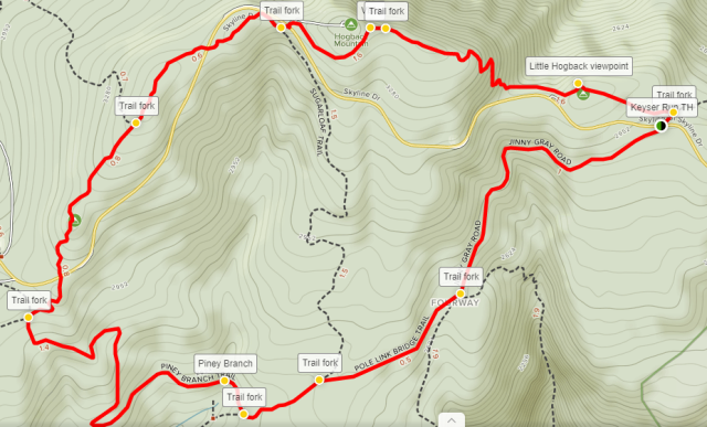 Hogback Mountain Loop trail hike map Shenandoah