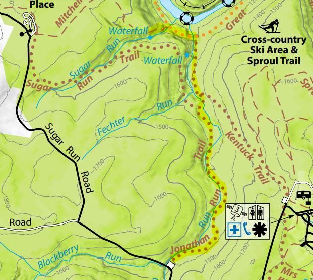 Jonathan Run Trail Ohiopyle State Park map