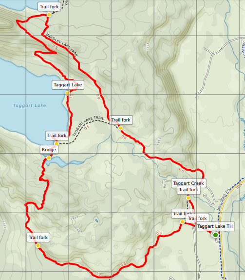 Bradley and Taggart Lakes trail map Grand Teton