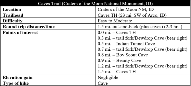 Caves Trail Craters of the Moon hike information