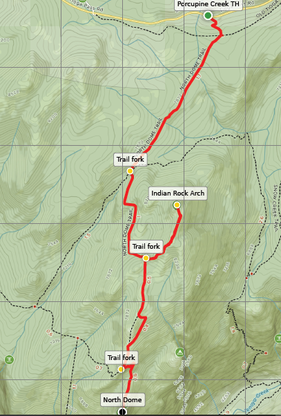 North Dome Trail Indian Rock Yosemite map