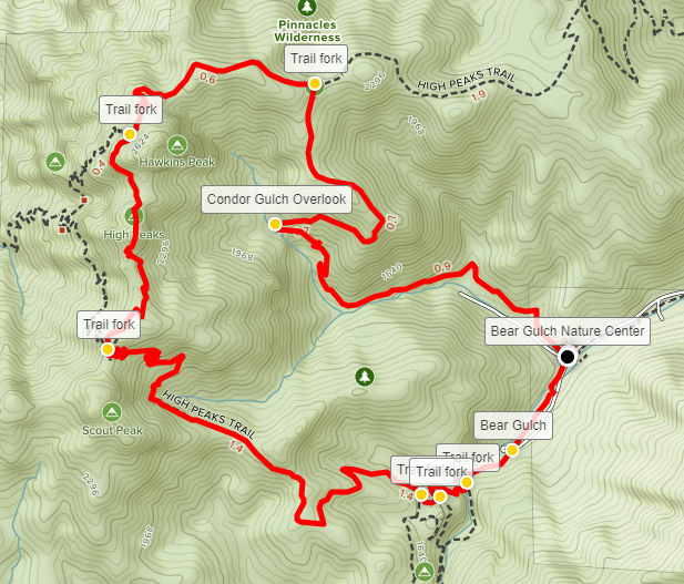 Condor Gulch High Peaks Trail Loop map Pinnacles
