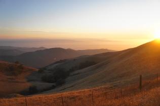 Sun setting on the Gabilan Range