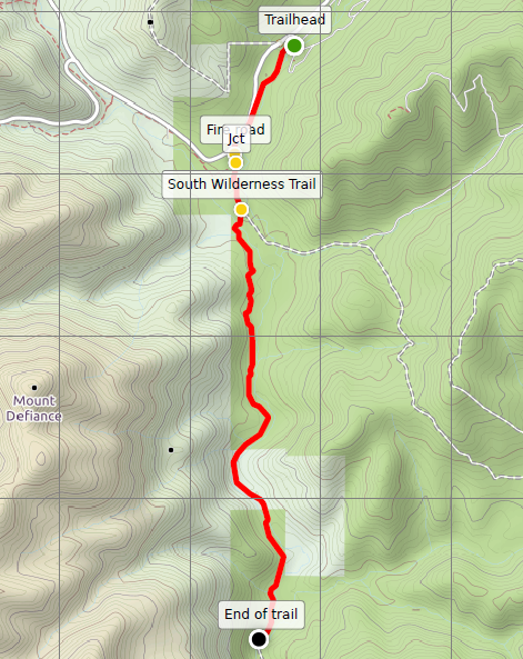 South Wilderness Trail Pinnacles map