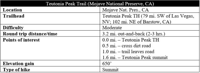 Teutonia Peak Trail Mojave hike information