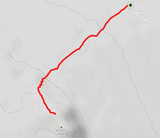 Teutonia Peak Trail Mojave hike map