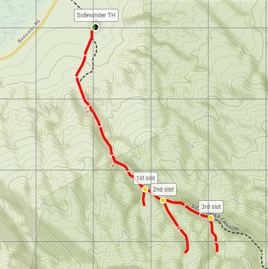 Sidewinder Canyon trail hike Death Valley map
