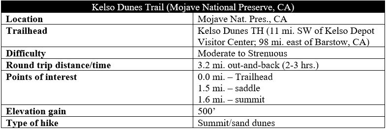 Kelso Dunes Trail Mojave hike information