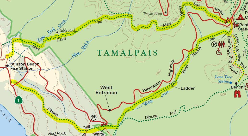 Steep Ravine - Matt Davis Trail Loop hike map Mount Tamalpais Marin